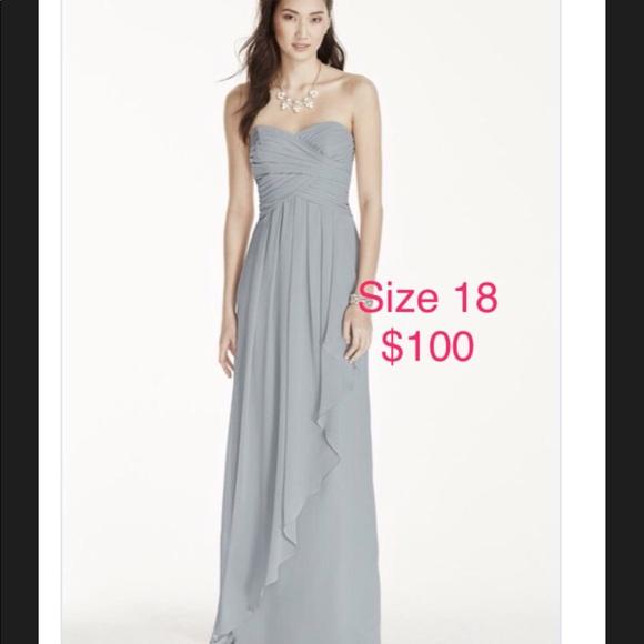 Davids Bridal Strapless Mercury Gray Dress